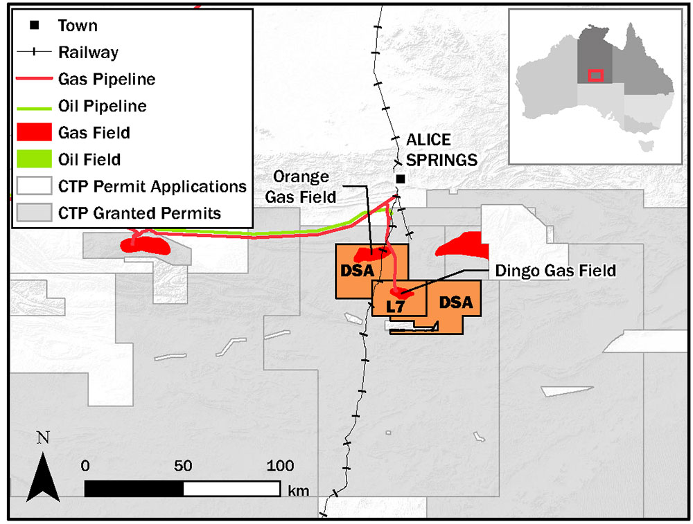 map Dingo Gas Field